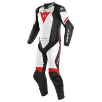 Dainese LAGUNA SECA 4 2PCS SUIT BLACK-MATT/WHITE/FLUO-RED dwuczęściowy kombinezon motocyklowy skórzany