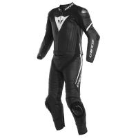 Dainese LAGUNA SECA 4 2PCS SUIT - BLACK-MATT/BLACK-MATT/WHITE - dwuczęściowy kombinezon motocyklowy skórzany