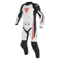 Dainese ASSEN 2 PCS SUIT - WHITE/BLACK/FLUO-RED męski skórzany kombinezon motocyklowy