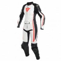Dainese ASSEN 2 PCS LADY SUIT - WHITE/BLACK/FLUO-RED damski skórzany kombinezon motocyklowy
