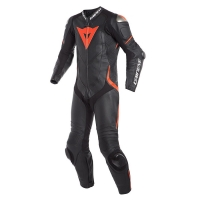 Dainese LAGUNA SECA 4 1PC PERF. LEATHER SUIT - BLACK/BLACK/FLUO-RED - jednoczęściowy kombinezon motocyklowy